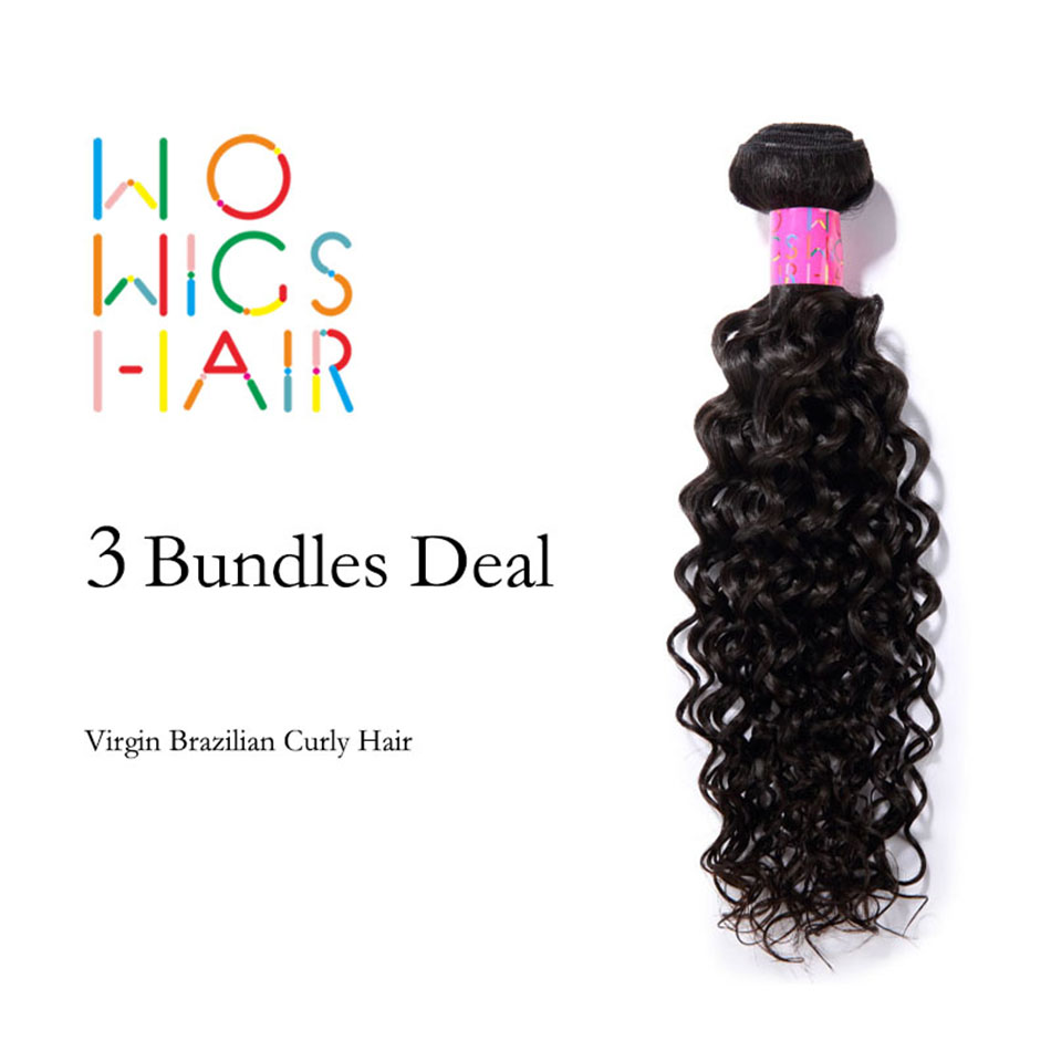 WoWigs Hair Brazilian Curly Virgin Hair 3 Bundles Deal Natural Color 1B.