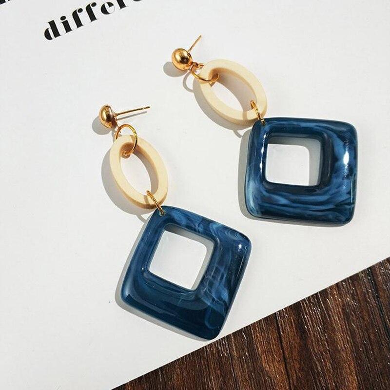 SUKI Fashion Big Resin Drop Earrings For Women 2019 New Acetic Acid Large Korea Square Earrings Trendy Wood Geometric Jewelry in Drop Earrings from Jewelry Accessories