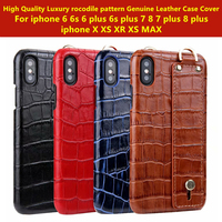 Case for Iphone X XS XS MAX XR Phone Case Luxury Crocodile Pattern Genuine Leather Case Cover for Iphone 7 8 6s Plus