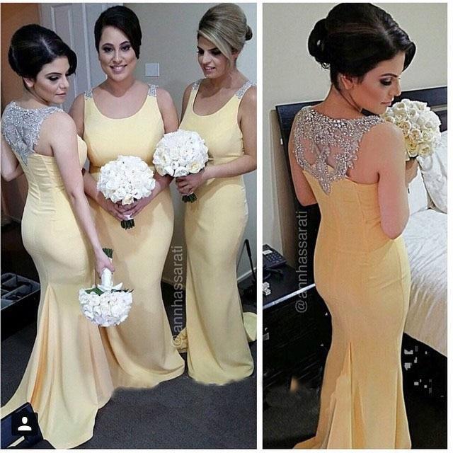 2017 Charming Long Bridesmaid Dresses Yellow Chiffon Women Dress Formal Party Beaded Neckline Summer Garden Wedding