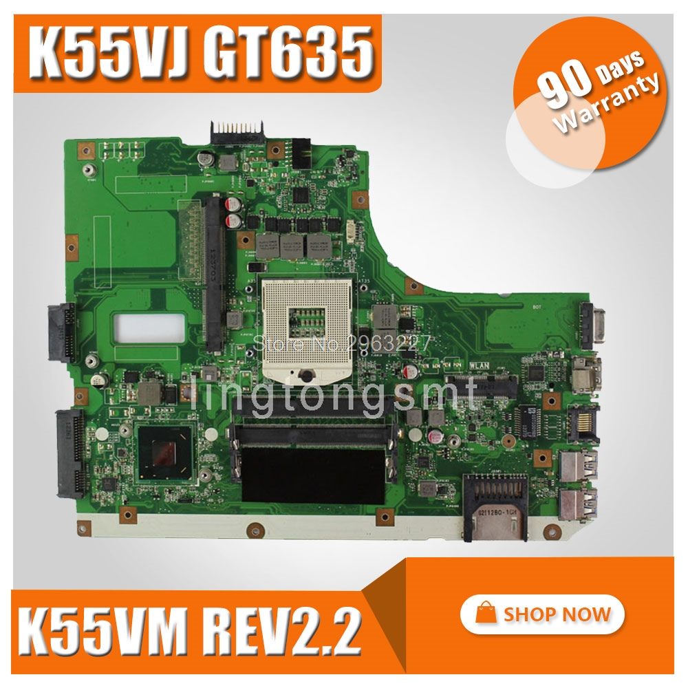 K55VJ Motherboard REV2 2 2 0 HM65 GT635 2G For ASUS K55VJ K55VM motherboard K55VJ Mainboard