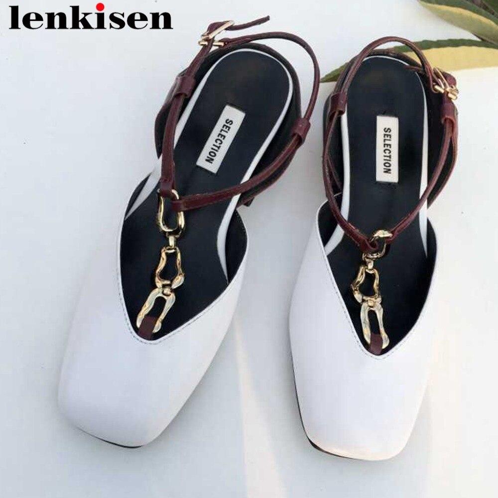 Lenkisen genuine leather velvet classic square toe buckle strap party chain decoration low heels slingback women