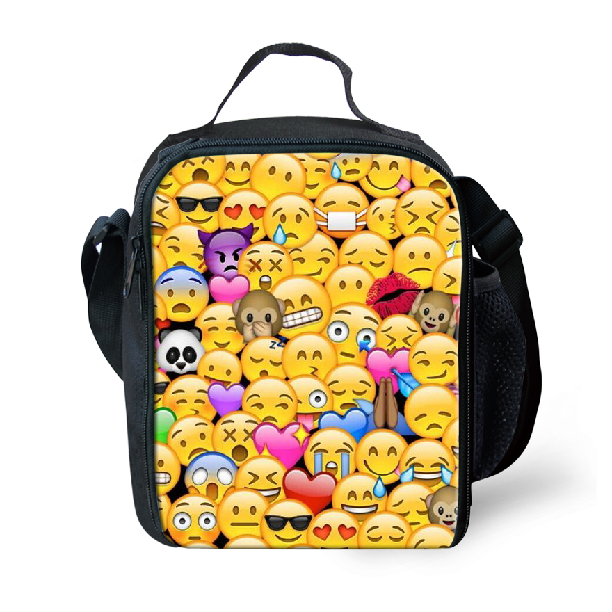 forudesigns cute 3d printed lunch bag for kids funny emoji face prints lunchbox boys and girls. Black Bedroom Furniture Sets. Home Design Ideas