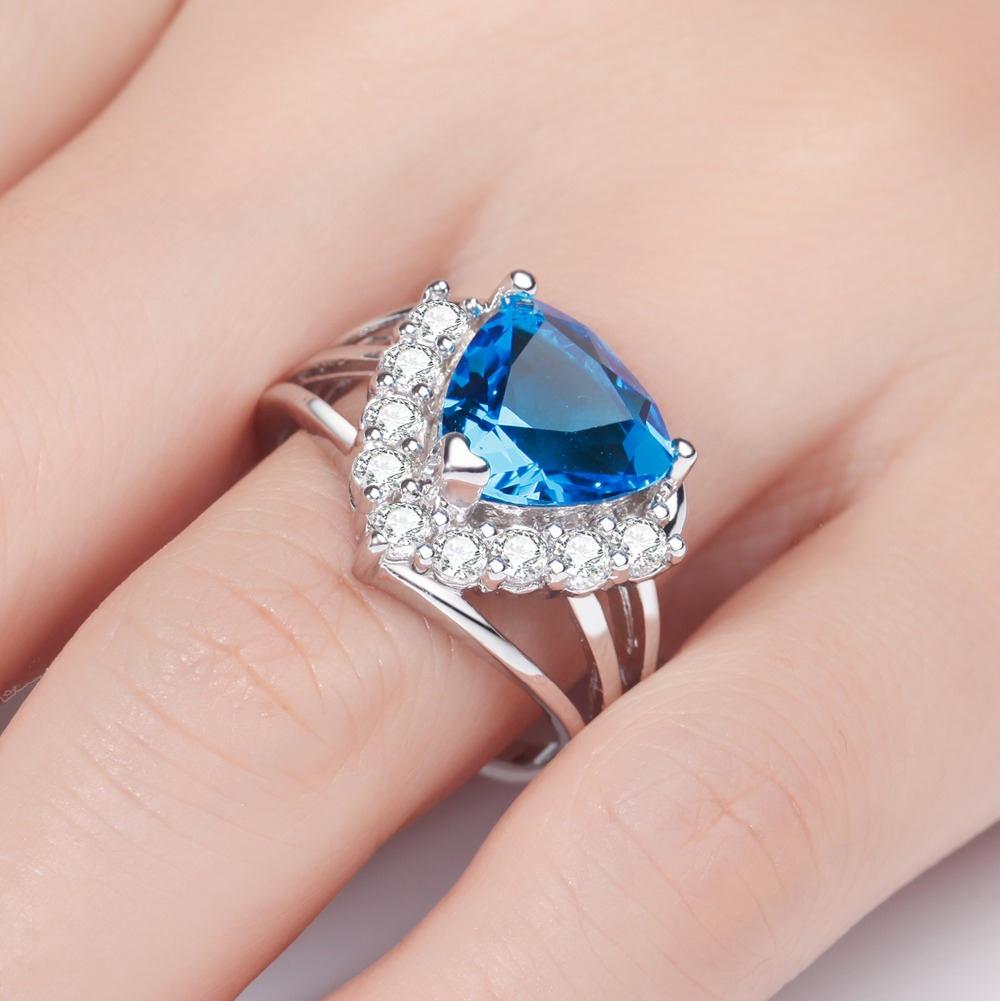 MEGREZEN Vintage Wedding Ring Silver Plated Costume Jewelery With ...