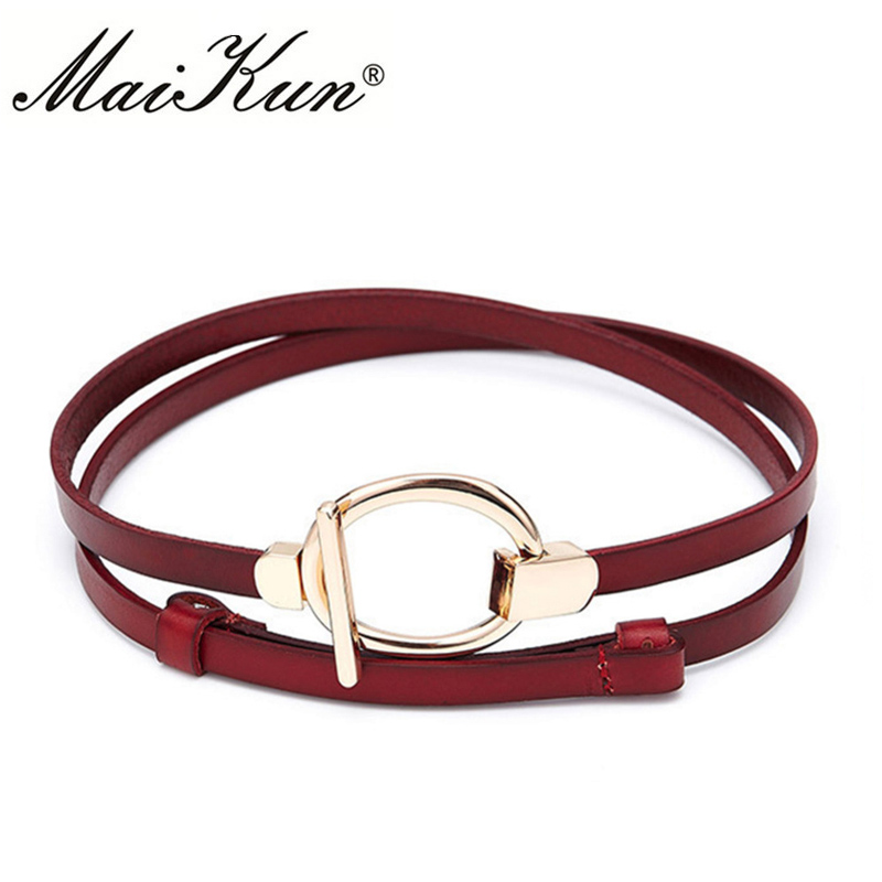 Maikun Thin   Belts   for Women Luxury Brand Gold Chain Female   Belt   Round Buckle for Wedding   Belt