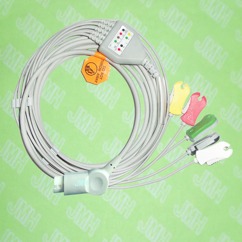 Compatible With PHILIPS(HP) ECG Machine, One-piece ECG Cable And Leadwires,5 Lead,Clip,AHA Or IEC,HP 12PIN.