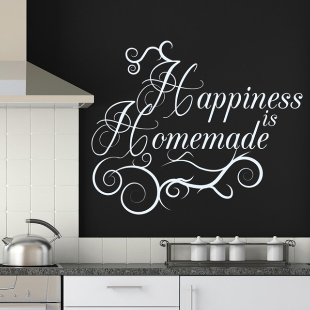 happiness is homemade wall sticker kitchen living room home decor