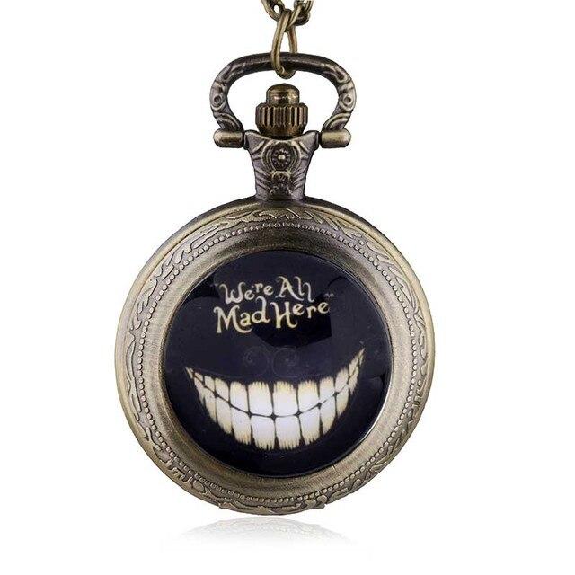 New Alice in Wonderland We're All Mad Here Quartz Pocket Watch Analog Pendant Ne