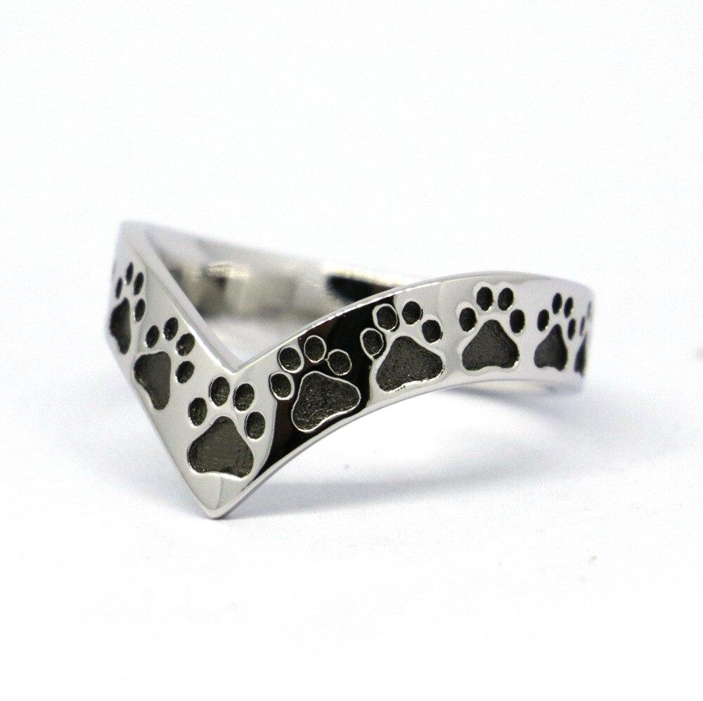 все цены на Solid Sterling Silver Dog Footprints,Paw Ring, Puppy Feet Wishbone Ring онлайн