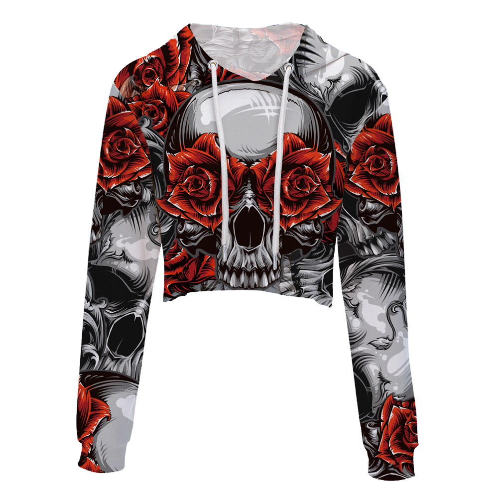 2018 New Fashion Nude Neck crop top Sweatshirt Hooded Red flower skull head women hoodies Long Sleeve Casual Short Free Shipping
