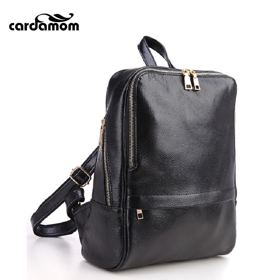 Cardamom Woman Leather Backpacks Large Capacity Black Shoulder Bags Women Fashion Backpack Teenage Girls School Travel Bags brand women backpack pu leather school backpacks for teenage girls shoulder bag large capacity travel bags