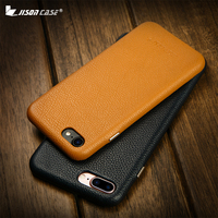 Jisoncase Genuine Leather Phone Fitted Case For IPhone 7 8 Slim Cases Hard Cover Business Metal