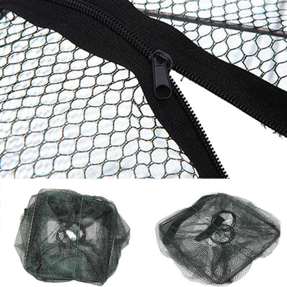 Qualidade Prático Dobrável Cesta Gaiola Camarão Crawdad Minnow Isca De Pesca Armadilha Elenco Net