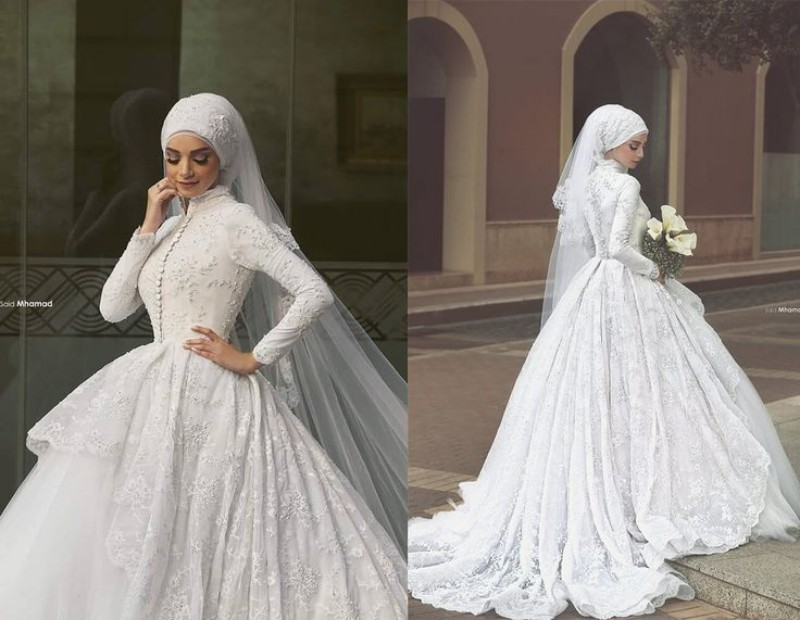 High Neck Long Sleeve Arabic Weddiong Dresses Ball Gown