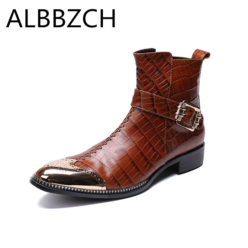 New mens embossed leather boots fashion ankle boots shoes men pointed toe buckle sewing trend design knight work boots big yards