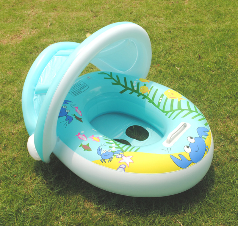 Summer Inflatable Baby Sun Protection Boat Children Swimming Inflatable Baby Boat Swim Ring Accessoire Piscine Pour