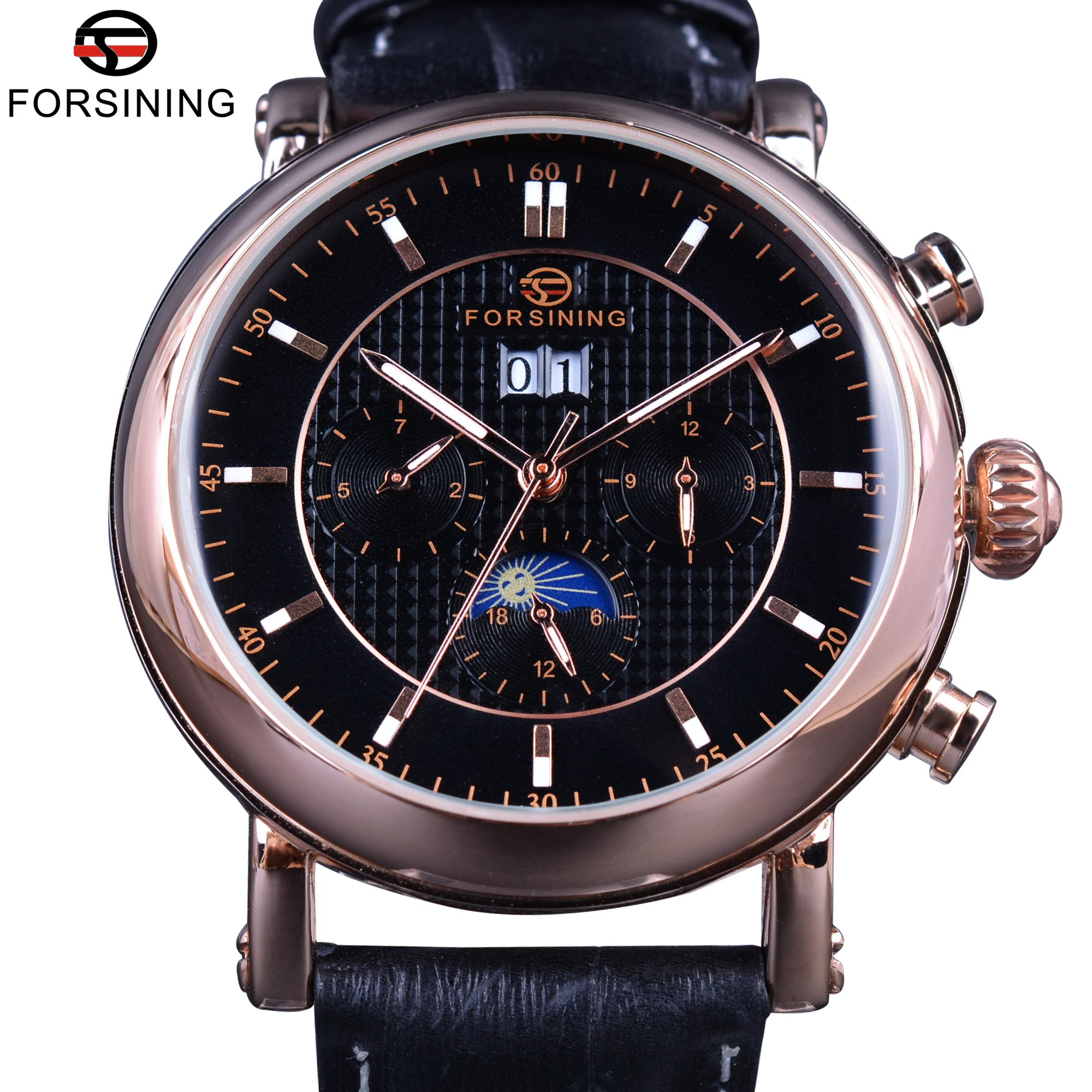 Forsining 2017 Rose Golden Design Moon Phase Calendar Display Mens Watches Top Brand Luxury Automatic Fashion Mechanical Watch forsining 3d skeleton twisting design golden movement inside transparent case mens watches top brand luxury automatic watches