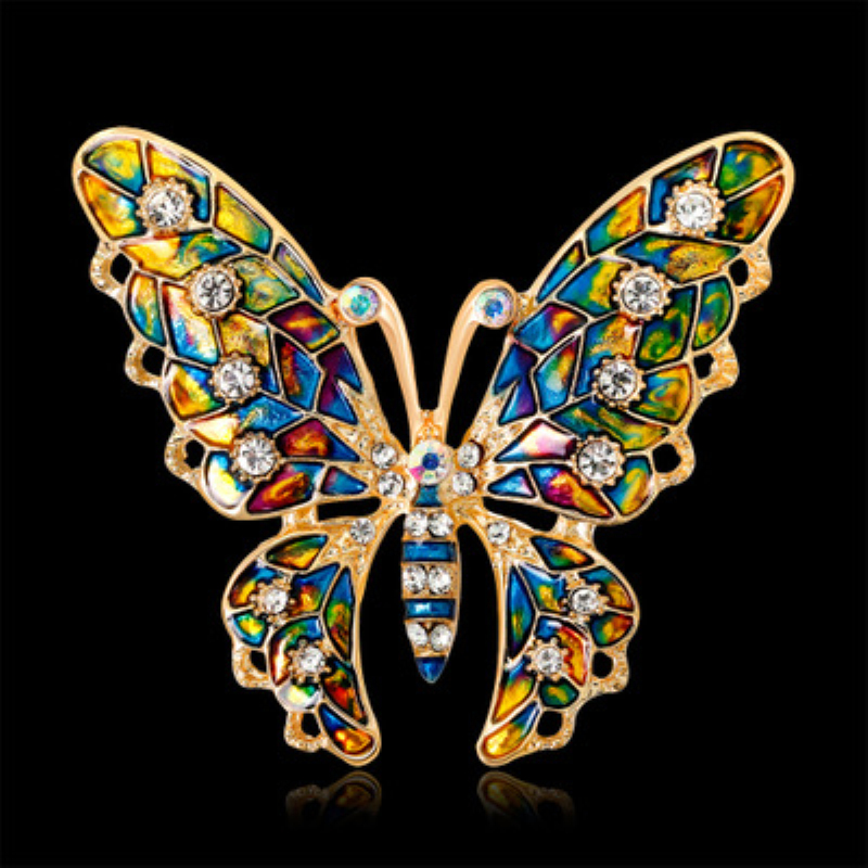 Colorful Beautiful Butterfly Brooches Enamel Metal Crystal Brooch Pin for Women Girl Dress Scarf Clothes Pin Up Fashion Jewelry in Brooches from Jewelry Accessories