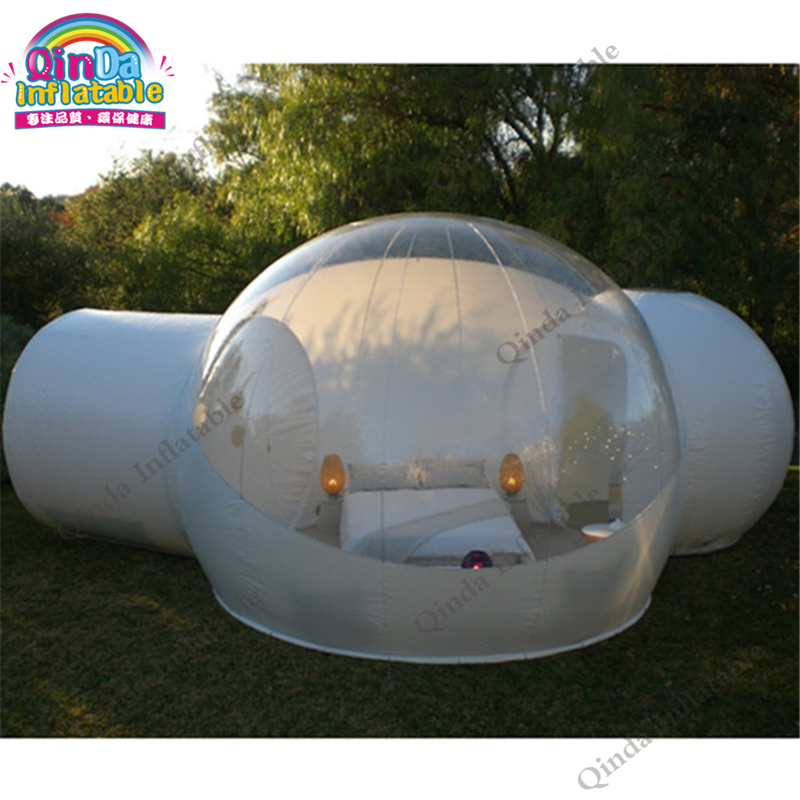 4m diameter inflatable transparent tent with double room,clear inflatable bubble tent for outdoor camping недорго, оригинальная цена