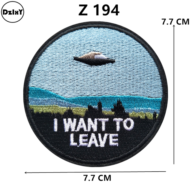1 PCS UFO Space parches Embroidered Iron on Patches for Clothing DIY Stripes Clothes Stickers Anchor Sewing Accessory