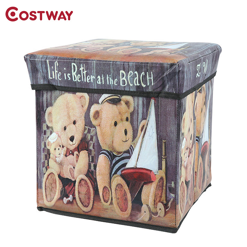 COSTWAY Multi-function Non-woven Retro Folding Storage Stool Sit Box Shoes Stool Storage Box Organizer Home Decoration W0134 ...