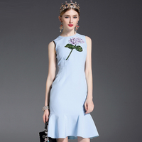 2017 Newest Spring 3D Flowers Embroidery Sequins Sleeveless Mermaid Dress High Quality O Neck Sky Blue