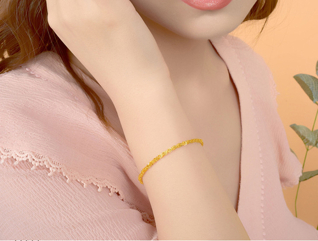 Pure 18K Yellow Rose Gold Bracelet Au750 Phoenix tail Link Extension O Word chain For Women Female Fashion Authentic New 19.5cm 2