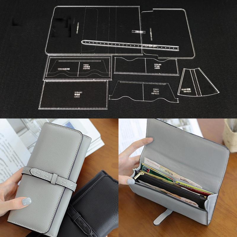 Acrylic Stencil Laser Cut Template DIY Leather Handmade Craft Women Zipper Long Wallet Hand Bag Sewing Pattern