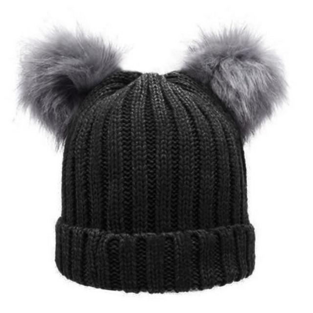 19cc66aa216c0 Women s Winter Chunky Knit Double Pom Pom Beanie Faux Fur Hat Women Wool  Knit Beanie Bobble