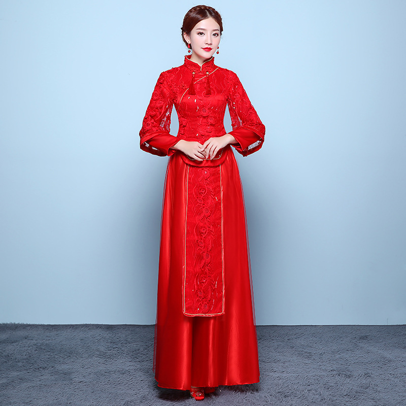 2018 Bride Red Lace Loose Long Sleeve Cheongsam