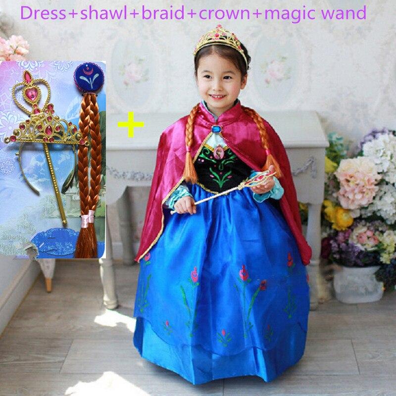 Anna vestido de meninas trajes de diamante princesa elsa vestido de noiva vestido de princesa