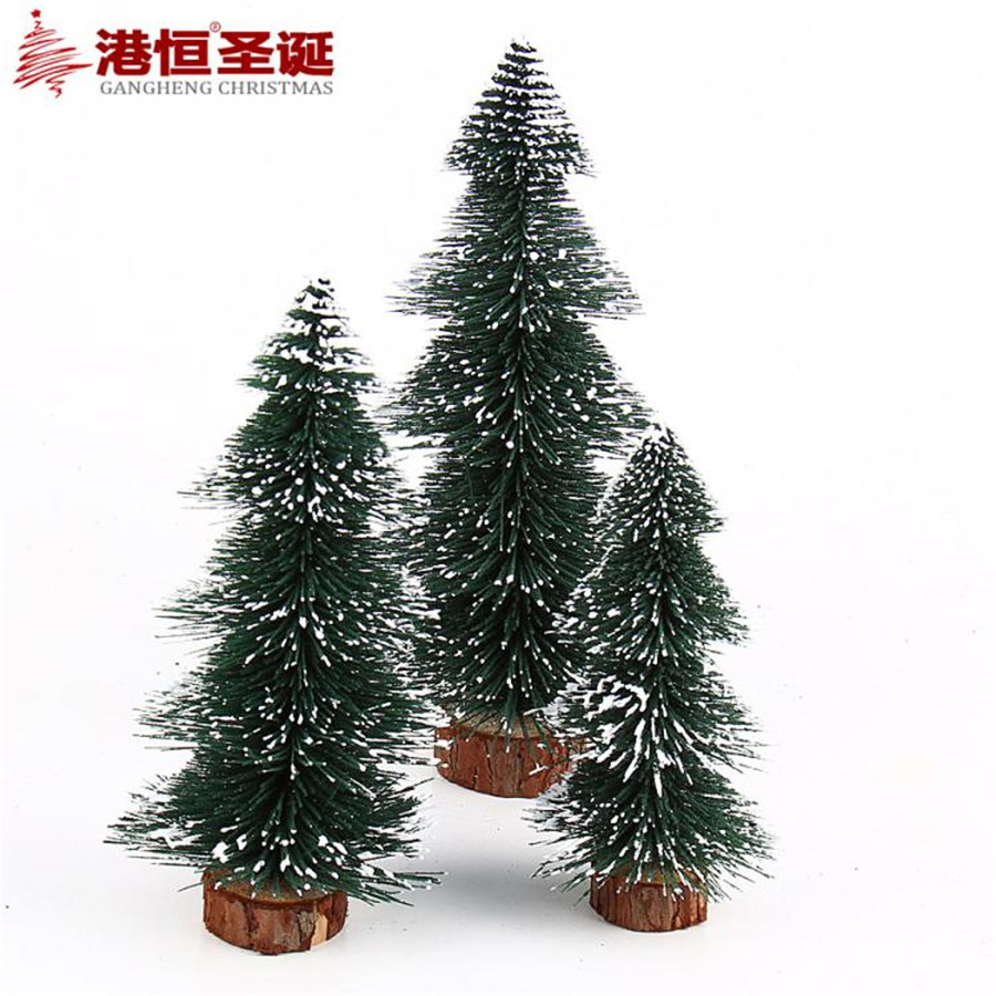 new mini christmas tree decoration for home pine needles sticky snow mini bonsai tree ornaments christmas gift freeshipping