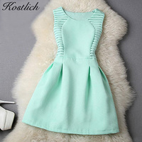 CTS Vestidos 2015 Womens Dress Casual Summer Mini O Neck Sleeveless Solid Elegant Short Evening Party