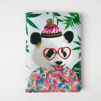 ¡Lo más nuevo de 2018! Funda de cuero PU para pasaporte oso para mascarada estuche de viaje para tarjetas de visita funda para pasaporte tarjetero