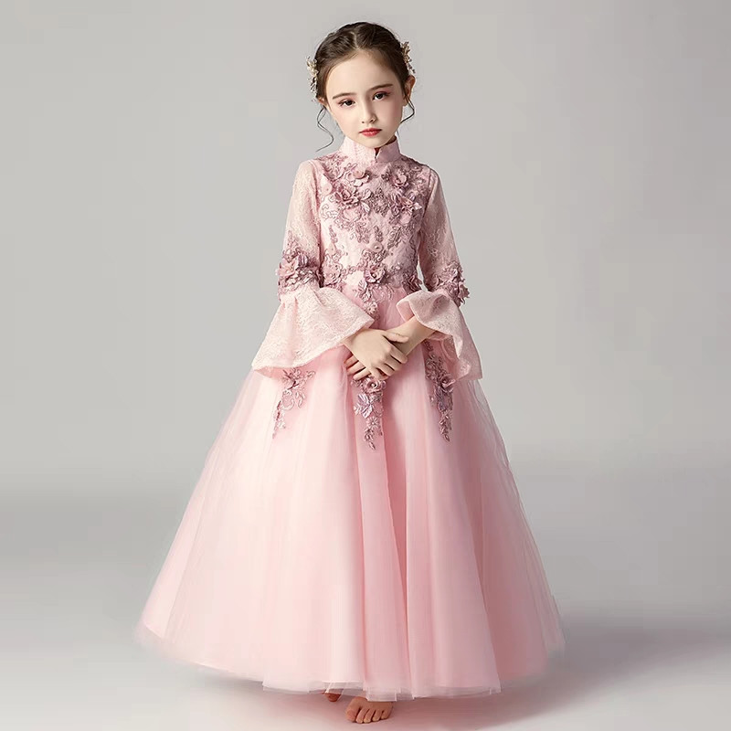 Autumn Winter New Hot-sales Children Kids Flowers Princess Lace Birthday Holiday Party Dress Girls Teenagers Pageant Long Dress