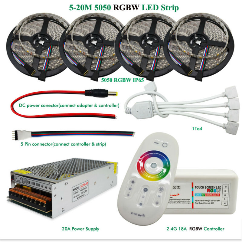 DC12V Led Strip Light 5050 SMD RGBW RGBWW Waterproof  + 2.4G RF Remote Controller + Power adapter Kit 5M 10M 15M 20M 20m rgbw rgbww led strip light 5050 dc