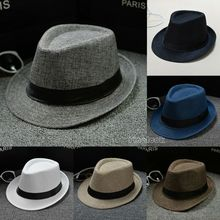 US Classic Mens Women Straw Fedora Hat Wide Brim Panama Summer Dress Hot