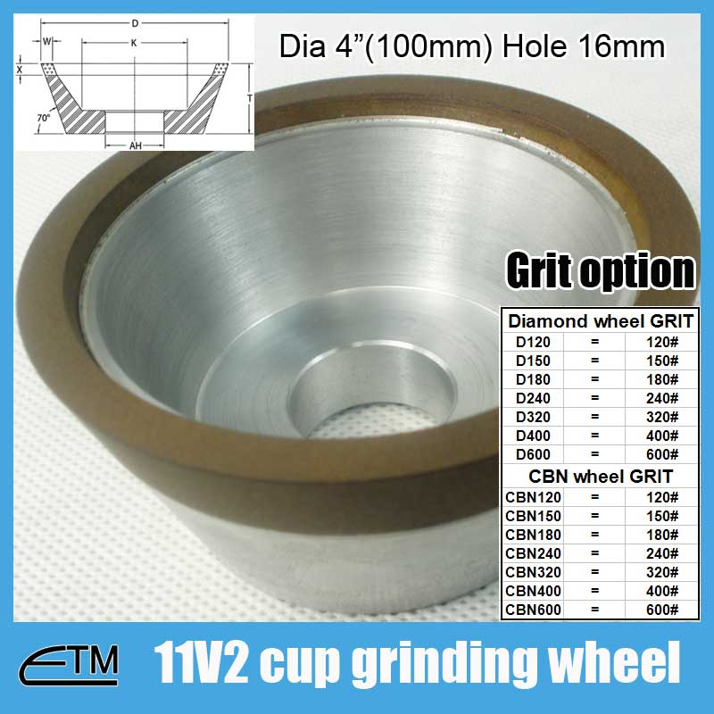 4 Cup Grinding Wheel, 11V2, 1-1/2 Thickness diamond and CBN wheel DCBN001 4 inch 6 inch straight cup diamond grinding wheel for glass edger straight line double edging beveling machine m009