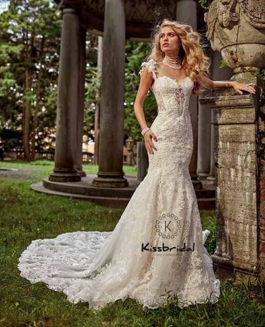 Newest Mermaid Wedding Dresses Sweetheart Neckline Vintage Lace ...