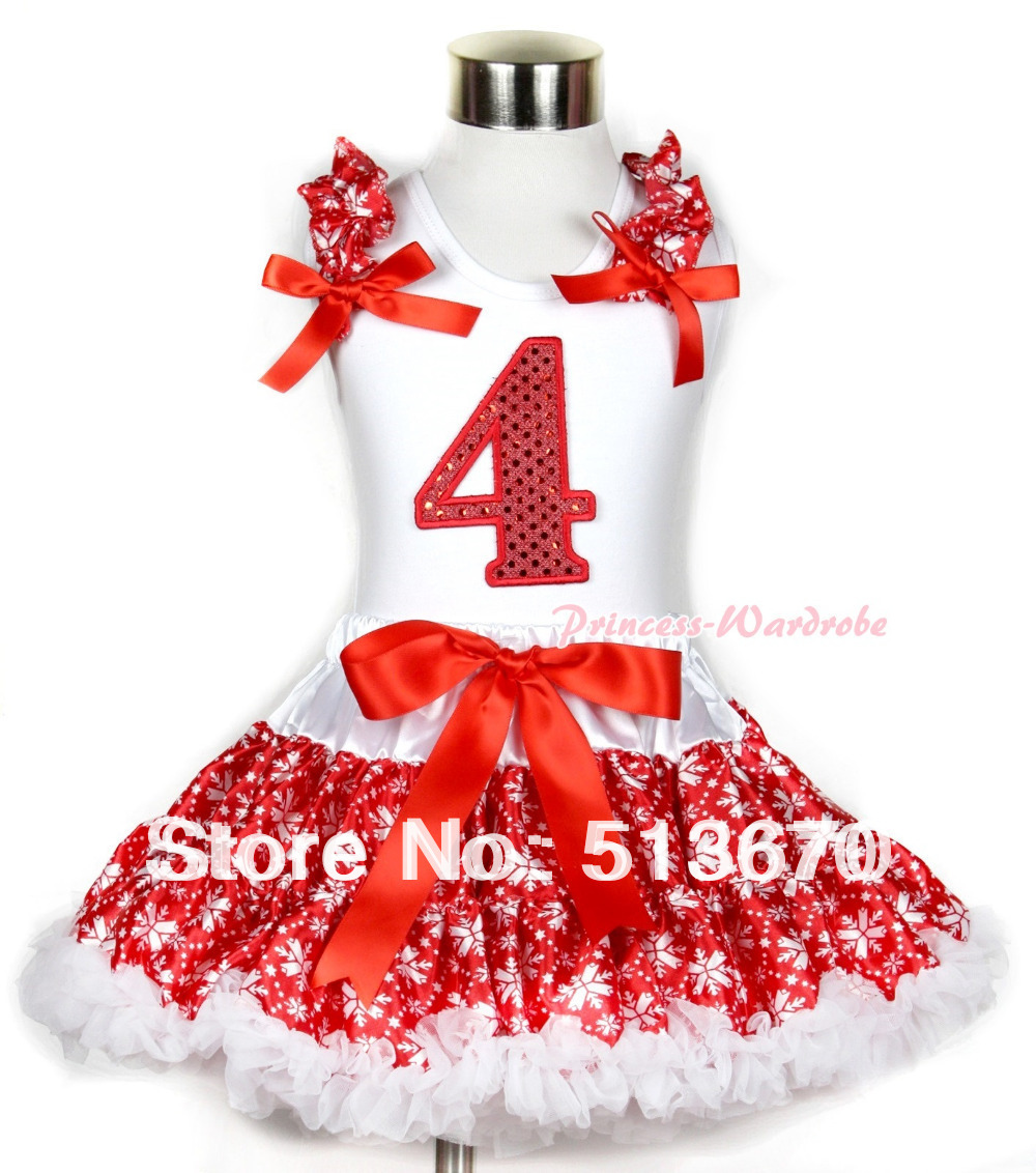 Xmas White Tank Top 4th Sparkle Red Birthday Number Print Red Snowflakes Ruffles & Red Bow & Red Snowflakes Pettiskirt MAMG728 xmas white tank top 2nd sparkle red birthday number with red snowflakes ruffles