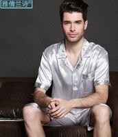 Plus size zijde lounge mannelijke pyjama voor mannen korte mouwen twinset zomer nachtkleding zomer set mannelijke capri zomer