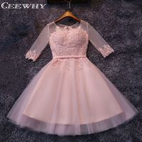 Three Quarter Sleeve Tulle Embroidery Transparent A Line Women Formal Gowns Dresses Robe De Cocktail Party