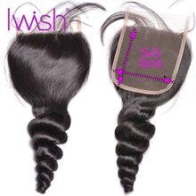 Cierre de onda suelta 5x5 Cierre de encaje Cierre de cabello humano cabello brasileño Cierre de encaje suizo cabello Remy Color Natural medio libre