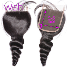 Gevşek dalga kapatma 5x5 dantel kapatma insan saçı kapatma brezilyalı saç Swiss dantel kapama Remy saç doğal renk ücretsiz orta
