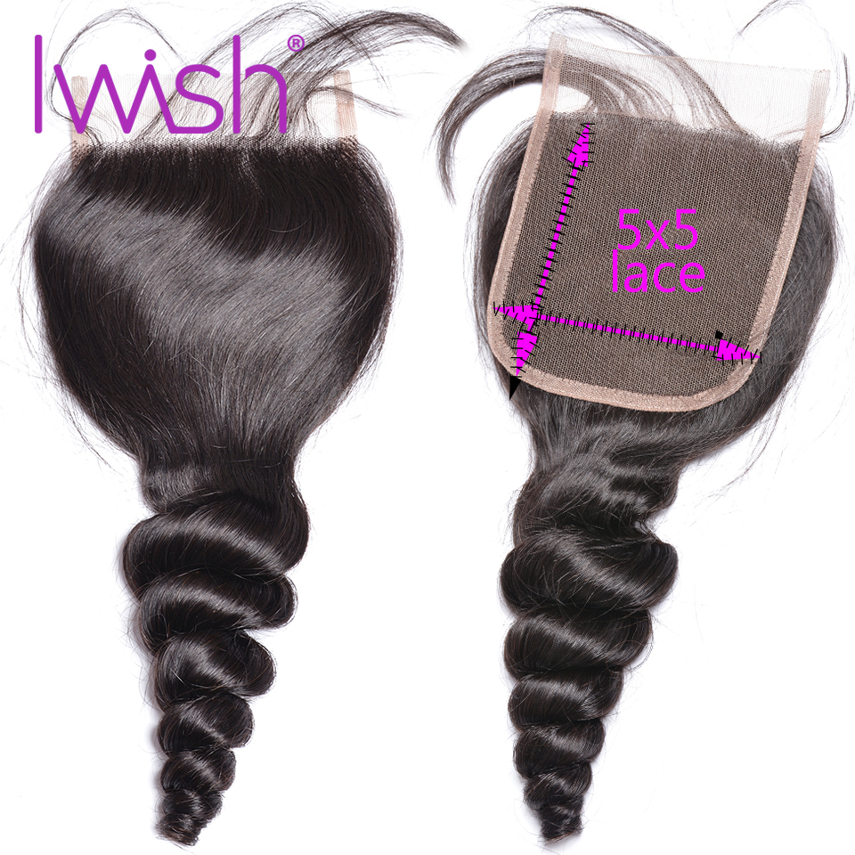 Loose Wave Closure 5x5 Lace Closure Human Hair Closure Brazilian Hair Swiss Lace Closures Remy Hair Natural Color Free Middle