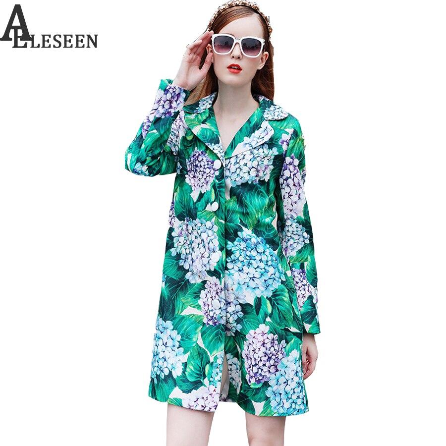 New Women Trench 2017 European Autumn Designer Fashion Turn Down Full Sleeve Luxury Hydrangea Print Trench