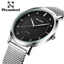 Readeelブランドメンズ腕時計ドレスクォーツ時計男性鋼メッシュストラップ石英の腕時計超薄型超時計レロジオmasculino