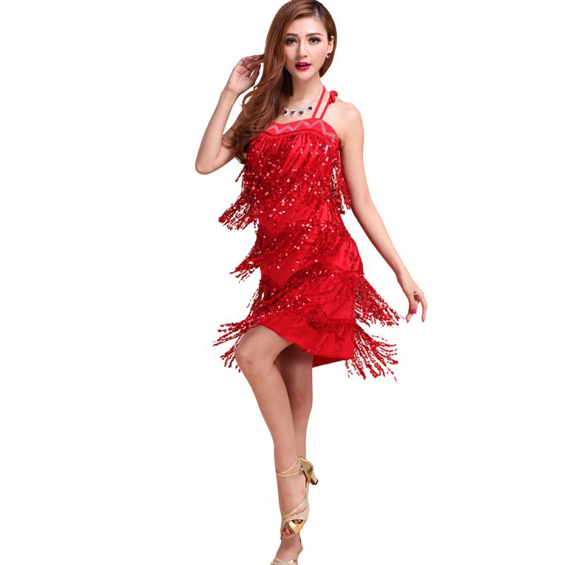 Sexy Latin Tango Salsa Cha Cha Ballroom Flamenco Dancing Dress Sequins Fringe