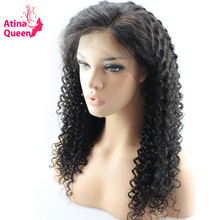 Atina Queen 180% Density Curly Lace Front Human Hair Wigs With Baby Hair for Black Women Remy Hair Pre Plucked Natural Hairline