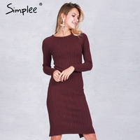 Simplee Elegant Split Knitted Bodycon Dress Women Long Sleeve Evening Party Sexy Dress Autumn Winter O